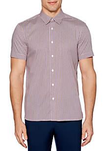 Perry Ellis® Computer Chip Print Stretch Short Sleeve Button Down Shirt
