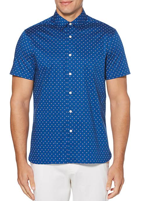 Leaf Print Stretch Short Sleeve Button Down Shirt