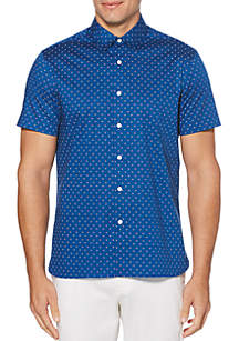 Perry Ellis® Leaf Print Stretch Short Sleeve Button Down Shirt