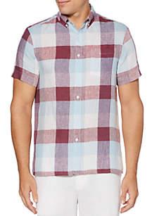 Perry Ellis® Buffalo Plaid Linen Short Sleeve Button Down Shirt