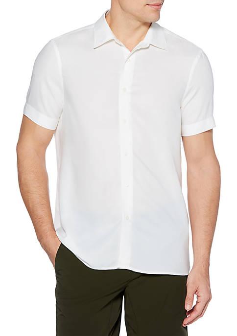 Solid Modal Short Sleeve Button Down Shirt