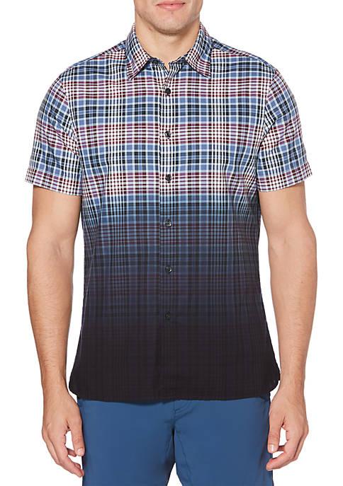 Perry Ellis® Dip Dye Oxford Plaid Short Sleeve