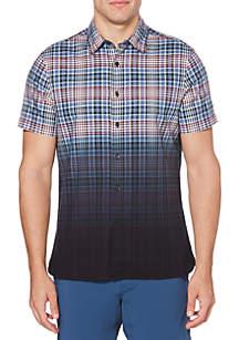Perry Ellis® Dip Dye Oxford Plaid Short Sleeve Button Down Shirt