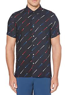 Perry Ellis® Point Print Short Sleeve  Button Down Shirt