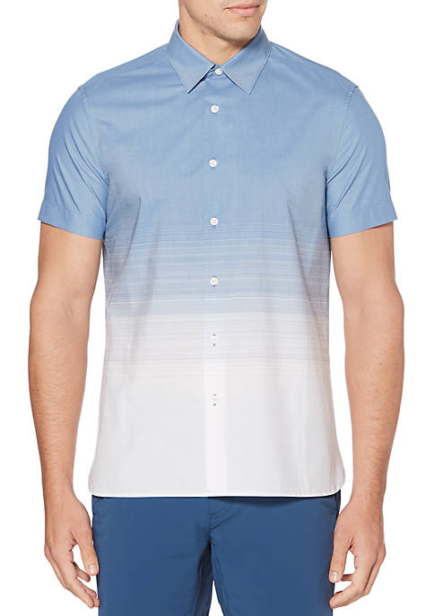 Short Sleeve Ombre Stripe Button Down Shirt