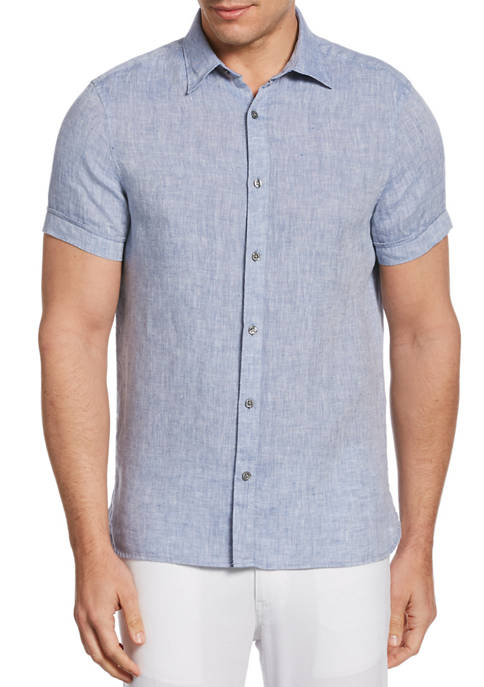 Perry Ellis® Mens Untucked Solid Linen Short Sleeve