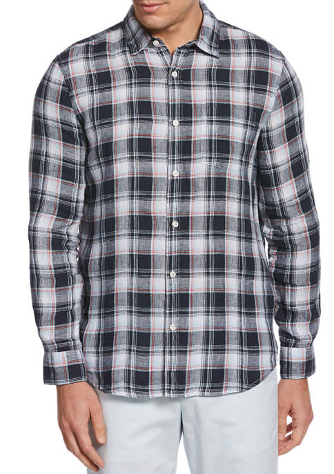 Perry Ellis® Mens Untucked Roll Sleeve Plaid Linen
