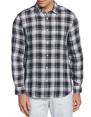 Perry Ellis Mens Plaid Linen Cotton Shirt