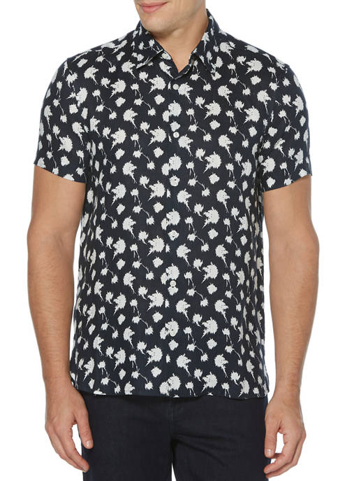 Perry Ellis® Mens Dandelion Print Linen Short Sleeve