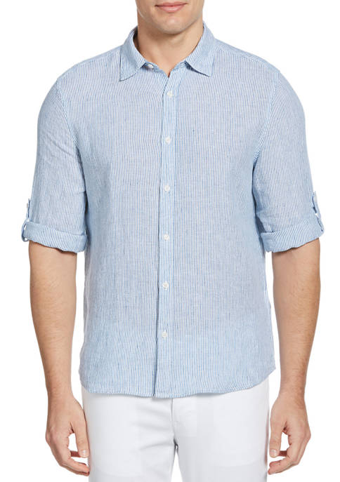 Perry Ellis® Mens Untucked Roll Sleeve Striped Linen