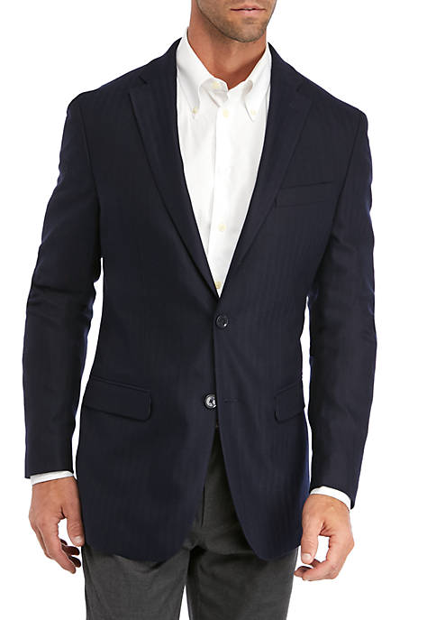 IZOD Navy Herringbone Sport Coat