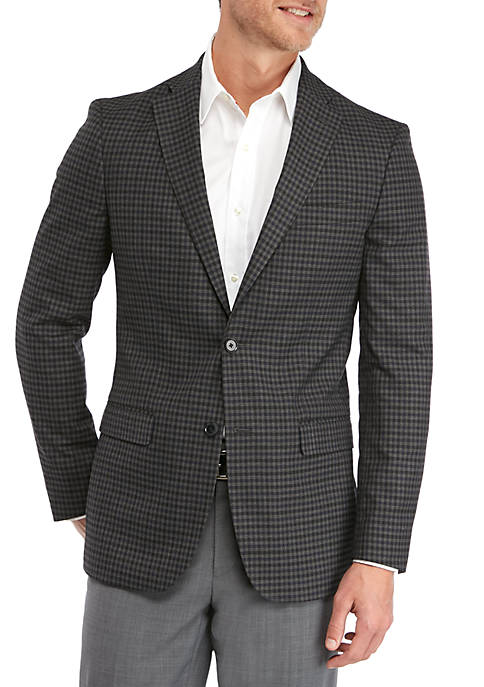 IZOD Blue Brown Deco Check Sport Coat