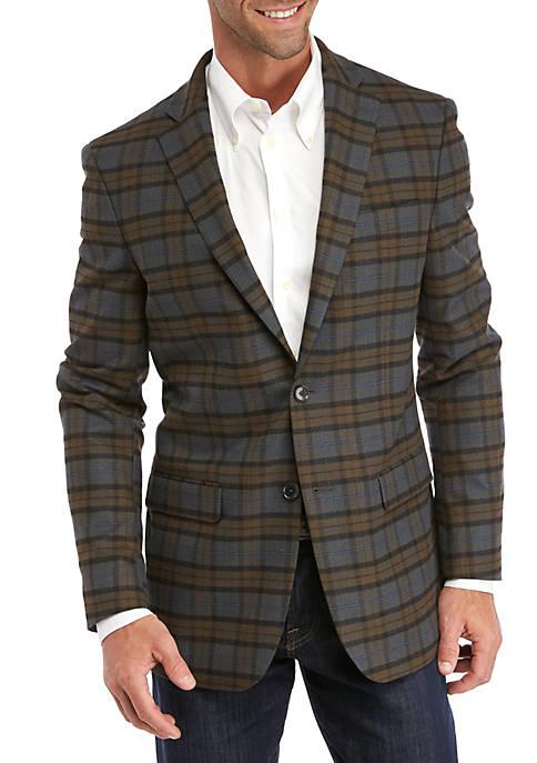 Gray Tan Plaid Sport Coat