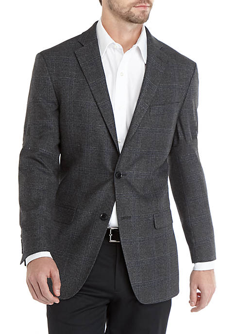 IZOD Mens Gray Black Plaid Sport Coat