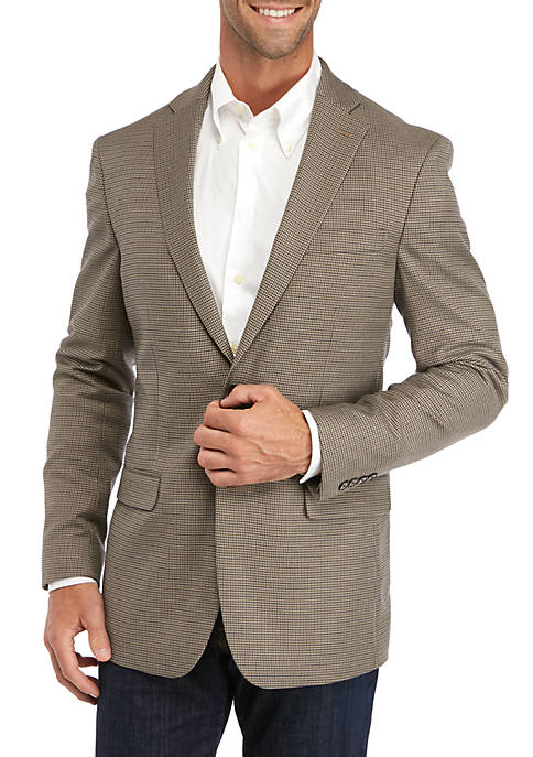 IZOD Tan Houndstooth Check Sport Coat
