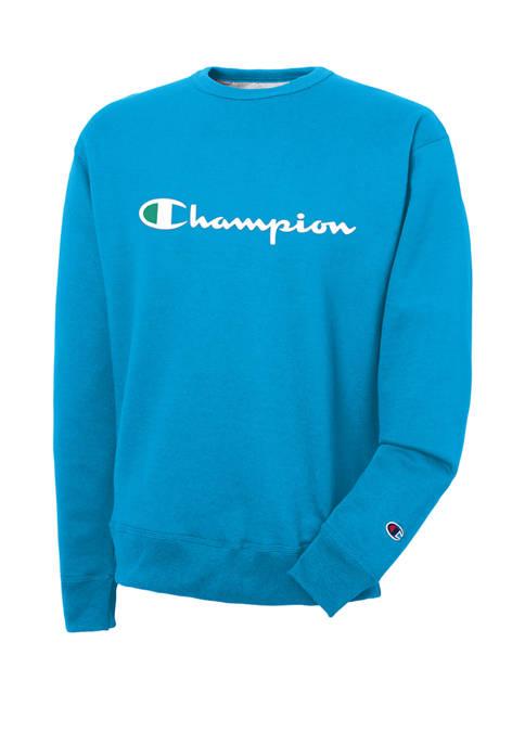 Champion® Graphic Powerblend Fleece Crew Neck Sweater