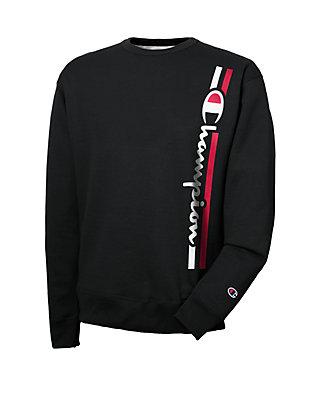 Mens Champion Vertical Logo Crew Neck Fleece Sweatshirt