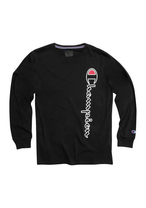 Champion® Long Sleeve Vertical Logo Graphic T-Shirt
