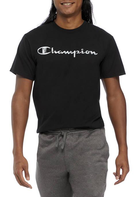 Champion® Classic Garment Dye Logo Graphic T-Shirt