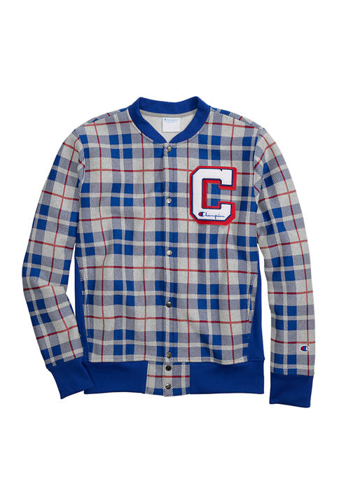 Champion® Reverse Weave® Baseball Jacket with Plaid Allover