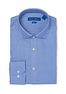 Slim Stretch Blue Houndstooth Collared Shirt
