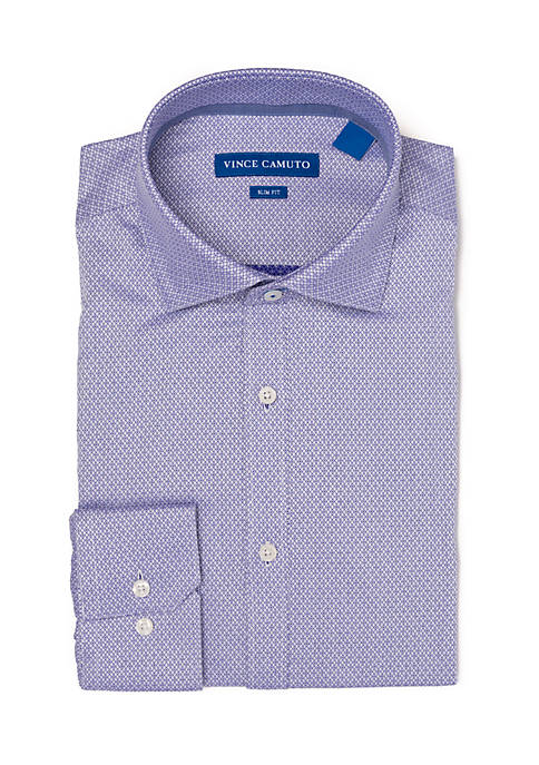 Slim Stretch Grape Diamond Dobby Dress Shirt