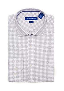 Slim Stretch Navy Geo Print Dress Shirt