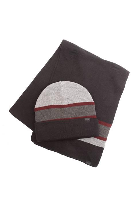 Levi's® Flat Knit Stripe Beanie and Scarf Set