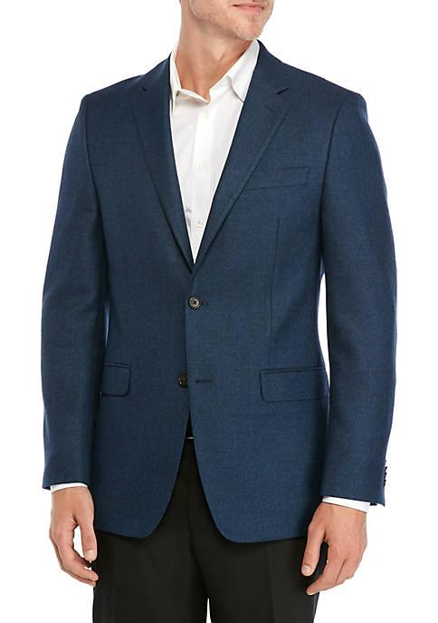 Solid Blue Wool Sport Coat