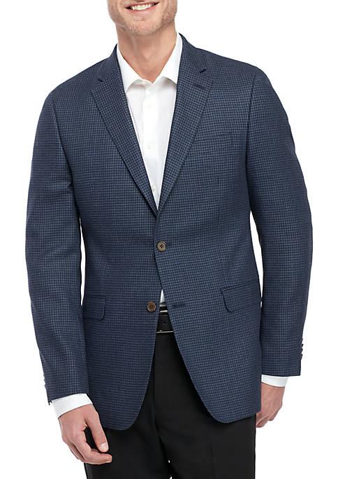 Blue Textured Check Sportscoat