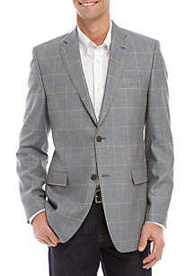 Austin Reed Gray and Blue Houndstooth Print Blazer