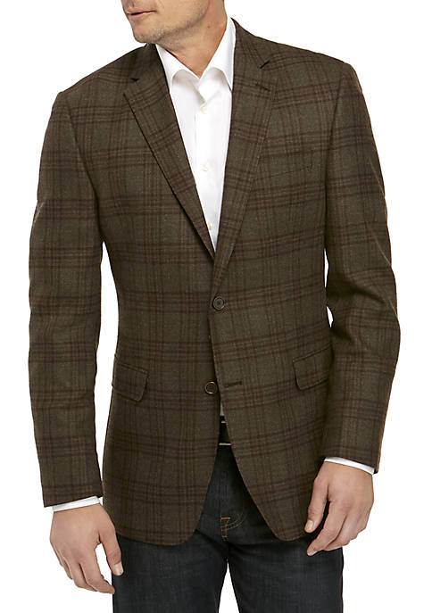 Brown Olive Plaid Sports Coat