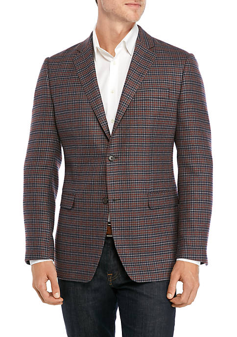 Austin Reed Gray Rust Blue Check Sport Coat