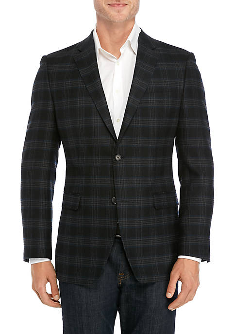 Wool Charcoal Gray Plaid Sport Coat