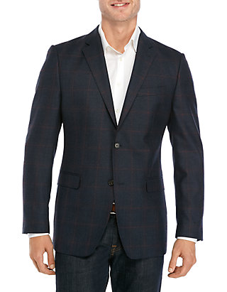 Austin Reed Navy And Burgundy Windowpane Sport Coat Belk