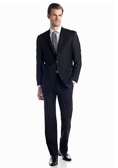 Austin Reed Black Solid Basic Suit
