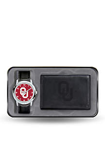 Oklahoma Sooners Black Watch and Wallet Gift Set-Online Only