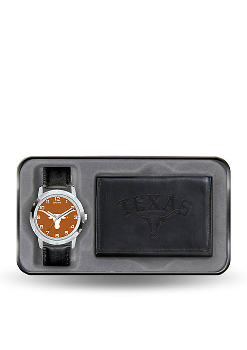 Texas Longhorns Black Watch and Wallet Gift Set-Online Only