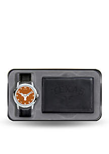 Rico Industries Texas Longhorns Black Watch and Wallet Gift Set-Online Only