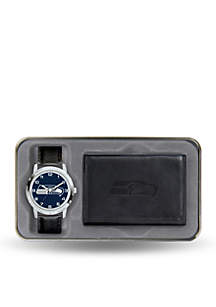 Seattle Seahawks Black Watch and Wallet Gift Set-Online Only