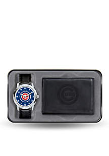 Chicago Cubs Black Watch and Wallet Gift Set-Online Only