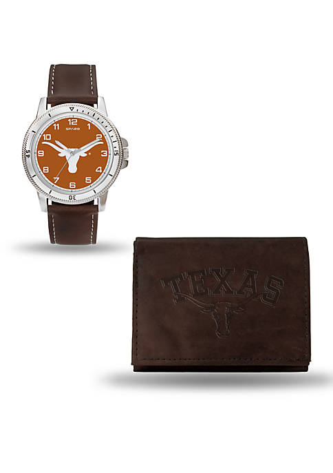 Texas Longhorns Brown Watch and Wallet Gift Set