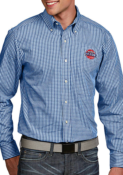 Antigua® Detroit Pistons Mens Associate LS Woven Shirt