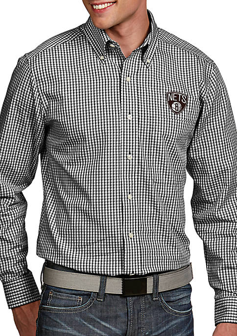 Antigua® Brooklyn Nets Mens Associate LS Woven Shirt