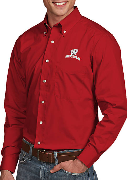 Antigua® Wisconsin Badgers Dynasty Woven Shirt
