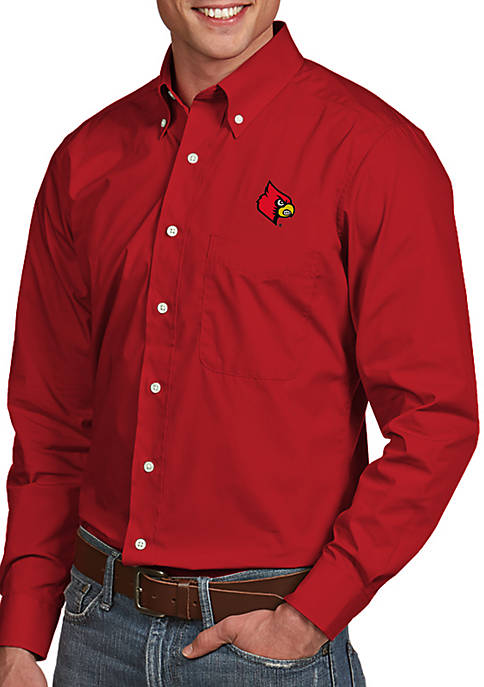 Antigua® Louisville Cardinals Dynasty Woven Shirt