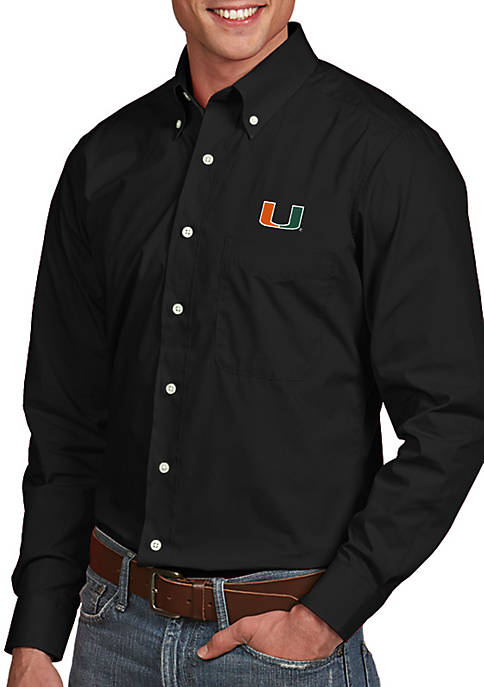 Antigua® Miami Hurricanes Dynasty Woven Shirt