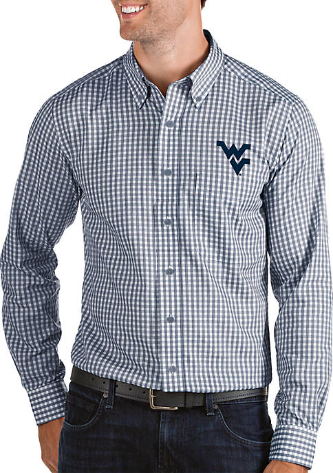 Antigua® West Virginia Mountaineers Structured Woven Button Down