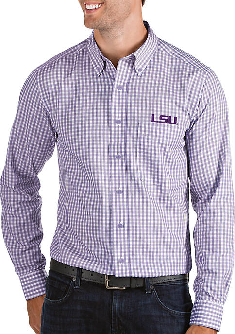 Antigua® LSU Tigers Structured Woven Button Down Shirt