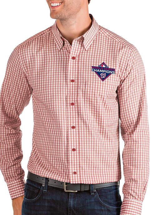 Mens MLB Washington Nationals 2019 World Series Champions Long Sleeve Woven Button Down Shirt